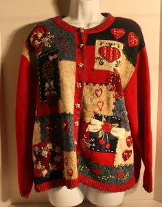 2003 Heirloom Collectibles Ugly Hearts Partridge Christmas Sweater Cardigan XL | eBay