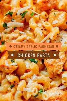 Best & healthy recipes of Instant Pot Creamy Garlic Parmesan Chicken Pasta Easy Healthy Pasta Recipes, Creamy Pasta Recipes, Healthy Chicken Pasta, Vegetarian Pasta Recipes, Paleo Chicken Recipes, Pasta Dinner Recipes, Recipe Pasta, Veggie Pasta, Pot Pasta