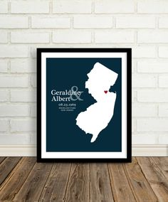 Personalized Wedding Gift : Custom Wedding Location State Map Print - 8x10 / New Jersey - Any State or Country - Keepsake Engagement Gift. via Etsy.