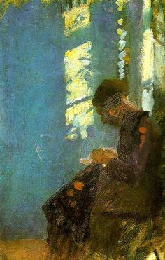 Interior with Woman Sewing - Anna Ancher c 1910 Danish painter, 1859-1935