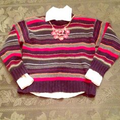 Striped J. Crew sweater Beautiful multi colored striped Men's extra small J. Crew sweater. 100% wool. Very warm for fall nights and winter weekends. Some pilling. J. Crew Sweaters