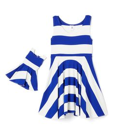 Another great find on #zulily! Navy Stripe A-Line Dress & Doll Outfit - Kids…