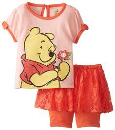 Disney Baby Girls' Winnie The Pooh Shirt and Knit Short with Tutu, Orange, 18 Months