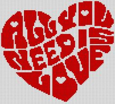 All You Need Is Love - Heart Perler Bead Pattern