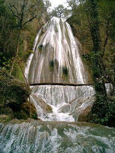 Cola de Caballo waterfall, in Santiago, Nuevo Leon, Mexico