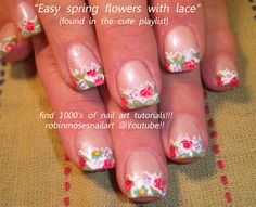 Nail-art by Robin Moses: french lace nails, floral french manicure, spring wedding nails, victorian lace nails, colorful heart nails, cartoo...