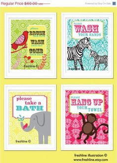 SALE  30 OFF Kids Bathroom Art  Wash Your Hands Brush by Freshline, $42.00