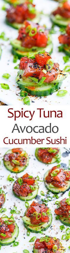 Spicy Tuna and Avocado Cucumber Sushi Bites