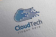 Cloud Tech Logo, Cloud Internet logo from DesignBundles.net