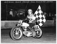 Rookie expert Mert Lawwill #84R wins the Santa Fe short track national (August 1963).