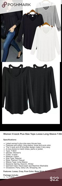 Women's off the shoulder black long sleeve blouse Women's off the shoulder black long sleeve blouse, t-shirt. Brand new in package.  Loose fitting would also make a great gift.  Buy with confidence I am a top rated seller, mentor, and fast shipper.  Don't forget to bundle and save even more.  Please refer to measurements in pics.  Thank you. Tops