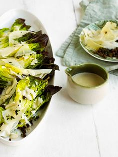 Lettuce with anchovy dressing, crisp capers and crisp thyme