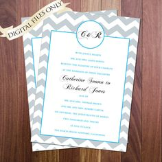 Monogram Chevron Wedding - Invitation and RSVP Cheap Digital files and printing!