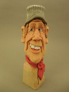 Hand Carved Wood Train Engineer Caricature by CarvingsbyTony, $55.00