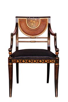 regency style japanned armachair by Pierre Lotier Furniture Styles, Unique Furniture, Luxury Furniture, Furniture Design, Painted Chairs, Painted Furniture, Waterfall Furniture, Interior Design History, French Living Rooms