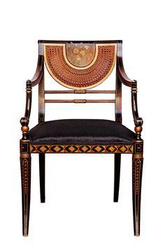 regency style japanned armachair by Pierre Lotier