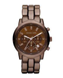 Y0XNJ Michael Kors Mid-Size Showstopper Chronograph Watch, Espresso