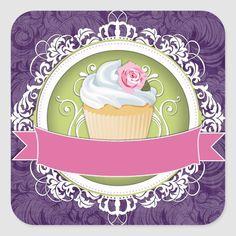 Pegatina Redonda Pegatinas elegantes y elegantes de la caja de la | Zazzle.com Elegant Cupcakes, Cupcake Logo, Cupcake Pictures, Paper Bunting, Bakery Logo Design, Cupcake Boxes, Birthday Scrapbook, Graphics Fairy, Stickers