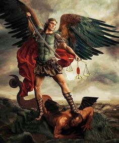 St Michael the Archangel, associated in Brazil with Shango, because of their similarities in iconography (weapons symbolic of the fight against evil; balance symbolic of justice). Angel Pictures, Jesus Pictures, Angels Among Us, Angels And Demons, Catholic Art, Religious Art, St Micheal Tattoo, Saint Michael Tattoo, Archangel Michael Tattoo
