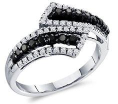 Black Diamond Ring Womens Band 14k White Gold (1/2 Carat), Size 7.5 $472.00