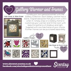 Add a hefty dose of bling and fun with our Gallery Frames.  Frames suit the Classic Cream and Ebony Cube Warmers.  www.alexwest.scentsy.co.uk