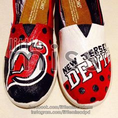 New Jersey Devils Hand Painted TOMS by LittleMissCustoms on Etsy Hand Painted Toms, New Jersey Devils, New Shoes, Nhl, Slip On, Pairs, Trending Outfits, Unique Jewelry, Handmade Gifts