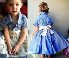 Don't throw out those old dress shirts! Turn them into an adorable Shirt Dress for your little one. Get the how to now.