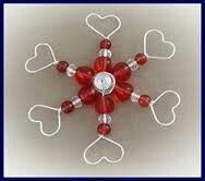 Wire bead heart snowflake