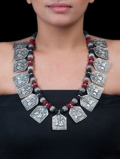 Buy Silver Red Black Tribal Necklace by Jewels India Jewelry Story Handmade Necklaces Earrings and Pendants with Etchings Online at Jaypore.com