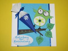 Glückwunschkarten - Einladung zur Einschulung Eule mit Schultüte - ein Designerstück von Wonderful-Paper-Art bei DaWanda