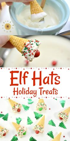 Elf Hats Holiday Treats - Easy, fun, holday treat for Christmas. Great for school parties Elf Hats Holiday Treats - Easy, fun, holday treat for Christmas. Great for school parties Easy Christmas Treats, Holiday Snacks, Christmas Party Food, Christmas Cooking, Christmas Appetizers, Holiday Recipes, Christmas Holiday, Dinner Recipes, Easy Christmas Recipes