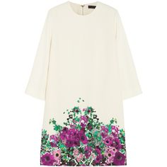 Elie Saab Floral-print crepe mini dress (5,435 BAM) ❤ liked on Polyvore featuring dresses, elie saab, short dresses, white, mini, flower print dress, crepe dress, floral pattern dress, white day dress and white mini dress
