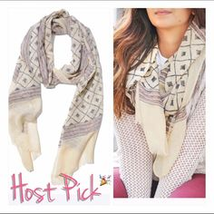 """HP 100% Wool Cream Beige Scarf Handmade India New Item!  Handmade & printed with non-toxic vegetable dyes & dried in natural sunlight.  Size: 76"""" x 28"""".  Made in India. 100% Wool.  Last picture shows item color best.  Chosen as a Host Pick for Best in Retail Party - 1/4/16.  Boutique Accessories Scarves & Wraps"""
