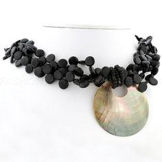Multi-Strand Bead & Disc Necklace (Black)