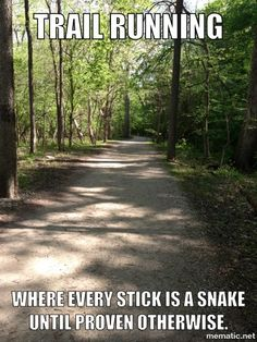 Running Humor Trail running. Where every stick is a snake until proven otherwise.You can find Running . Running Humor, Gym Humor, Workout Humor, Running Workouts, Fitness Humor, Funny Running Memes, Workout Fitness, Workout Sayings, Bike Humor