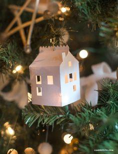 DIY Paper House Christmas Tree Ornament