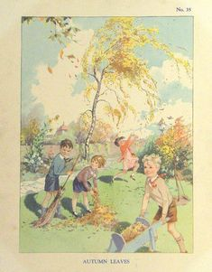 Vintage Autumn illustration.... Two Years in the Infant School (Box 2 Topics 22-42) by Enid Blyton