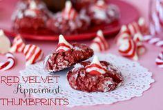 Red Velvet Peppermint Blossom Cookies