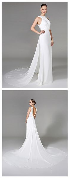 Greek goddess style wedding dress! Splendid unforgettable wedding to be! Find this two-piece wedding dresses chapel train high neck chiffon with beading at $129.99