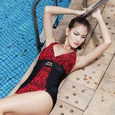 Plus Size Sexy V-neck One-Piece Swim Women Suit  /Red