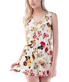 b69edaa93 Love this White Floral Zip-Front Romper on  zulily!  zulilyfinds  17.99  Wholesale
