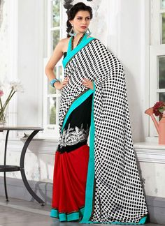 #Printed #White #Satin Half And Half #Saree