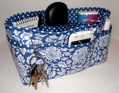 Quilted Purse Organizer Insert With Enclosed Bottom Large - Slate Blue Cabbage Rose. via Etsy.