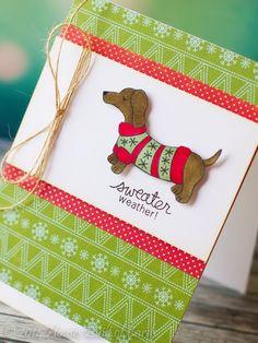 Sweather Weather Doxie Dog card with Guest Designer Heather Hoffman | Newton's Nook Designs