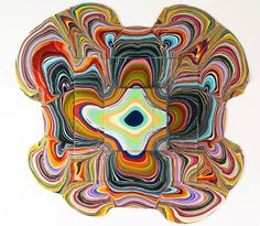 holton rower's 'pour' series is created by dripping paint onto three-dimensional objects  in his 'pour' series, new york multimedia artist holton rower directs and collaborates with the forces of nature,   leaving an element of the artistic process to the effects of gravity.
