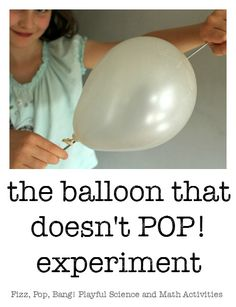 STEM science balloon experiment - one of the hands-on, creative math and science projects for kids in the Fizz, Pop, Bang! set of resources