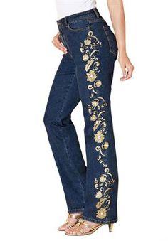 Encrusted Stretch Denim Jeans by Denim 24/7 | Plus Size Denim Boutique | Roamans