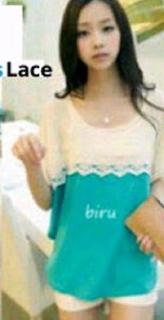 Kaos Korea berbahan rajut halus degan kombinasi renda yang manis.