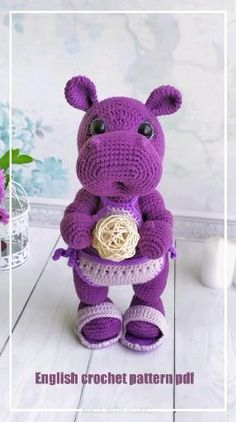 Crochet Hippo, Crochet Doll Pattern, Crochet Toys Patterns, Amigurumi Patterns, Stuffed Toys Patterns, Amigurumi Doll, Crochet Dolls, Doll Patterns, Crochet Baby