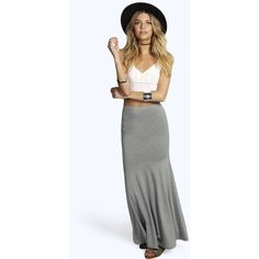 Boohoo Basics Rhian Drop Waist Maxi Skirt ($14) ❤ liked on Polyvore featuring skirts, grey marl, bodycon skirt, long grey skirt, bodycon midi skirt, gray maxi skirt and long pleated skirt